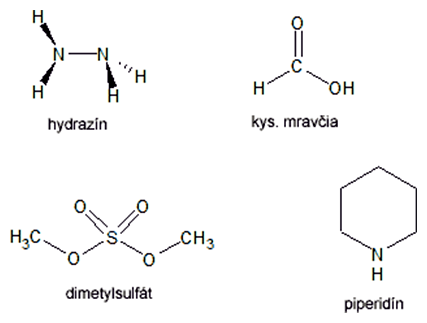 Štruktúrne vzorce chem. modifikačných činidiel